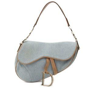 CHRISTIAN DIOR Light Denim Calfskin Saddle Bag